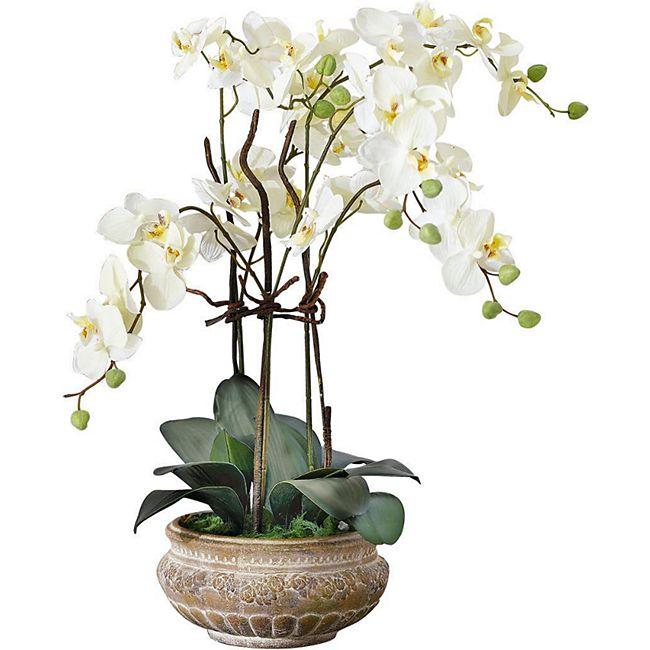 Kunstpflanze Orchidee mit Übertopf aus Keramik Weiß - Bild 1