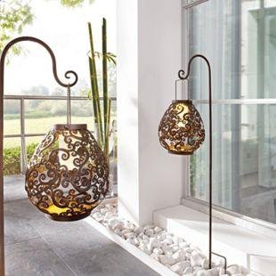 Solarleuchte mit Stab zum Aufhängen Verzierungen Ornamente 3 Warm Weiße LEDs Metall braun Tropfen Braun - Bild 1