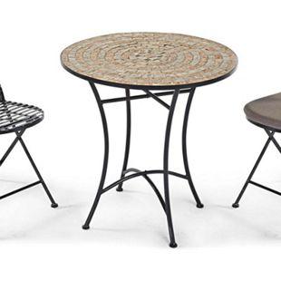 Gartentisch aus Metall mit Mosaikplatte, 70 cm ø Kemo Schwarz/Beige - Bild 1