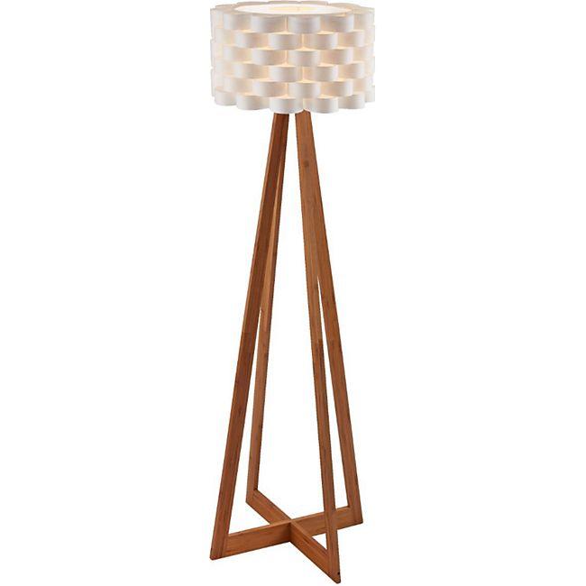 Design Stehlampe mit Papierschirm und Holzfuß, ca. 150 cm hoch, weiß/natur Flocht Weiß/Braun - Bild 1