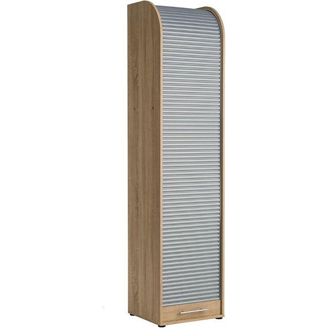 Büroschrank Rolladenschrank mit 5 Fächern H190 x B45 x T40 Carlo Braun/Silberfarben - Bild 1