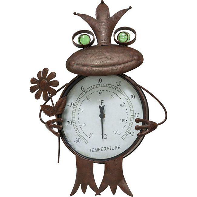 Gartenstecker Frosch Thermometer Metall Rost-Optik braun Frosch Rost - Bild 1