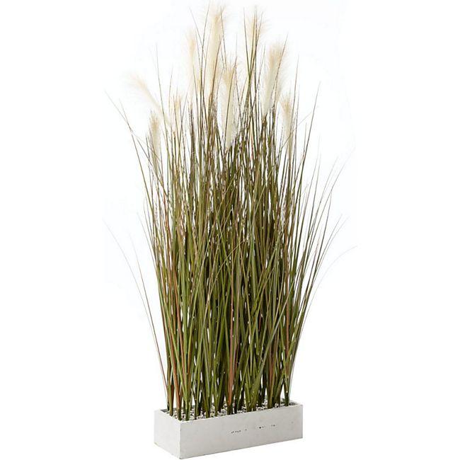 Kunstpflanze Gras - Raumteiler - Grün Weiß - Höhe ca. 153 cm Gras Grün/Weiß - Bild 1