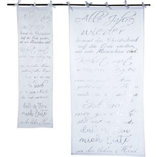 Organdy-Vorhang X-Mas-Song Weiß/Silberfarben 100 x 200 cm - Bild 1