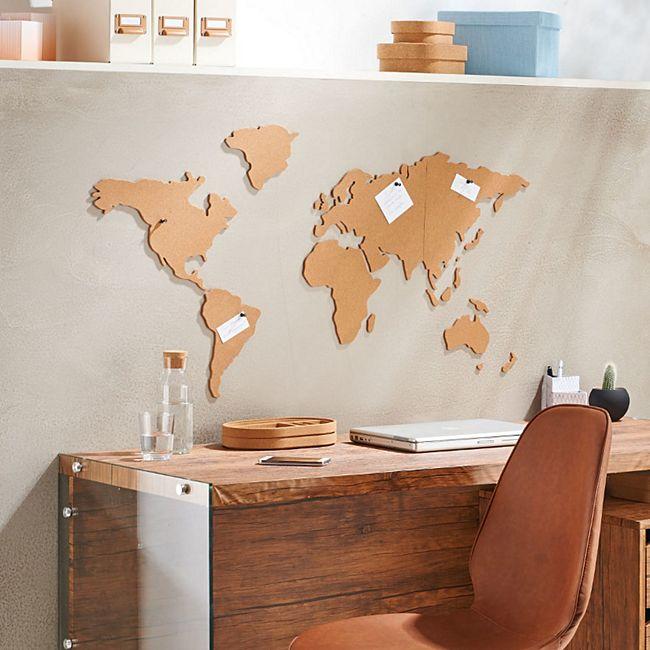Weltkarte aus Kork, selbstklebend Braun - Bild 1