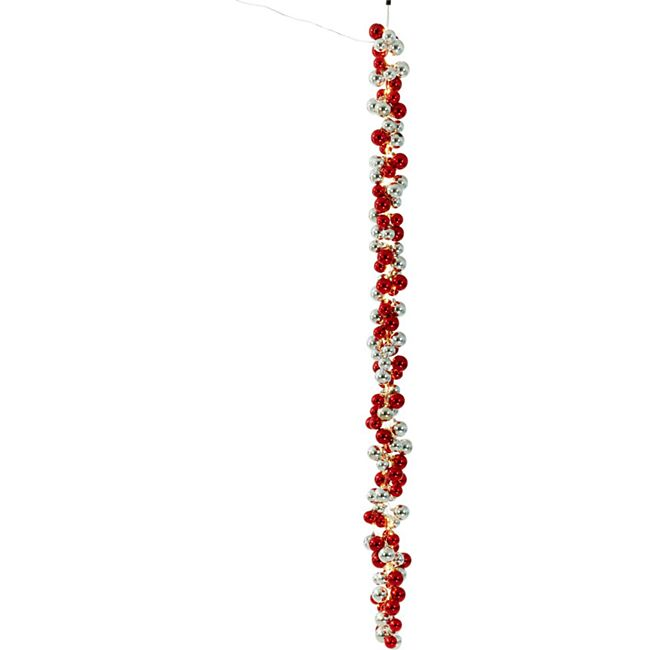LED-Girlande Glam Silberfarben/Rot - Bild 1