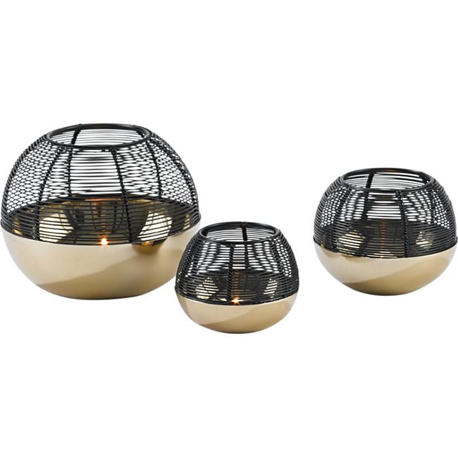 Teelichthalter-Set, 3-tlg. Globe Goldfarben/Schwarz - Bild 1