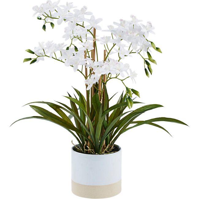 Kunstpflanze Orchideentopf Bella Weiß - Bild 1