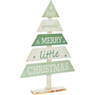 Deko-Tannenbaum Merry Little Christmas Grün/Weiß - Bild 1