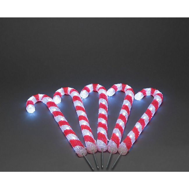LED-Stecker-Set, 5-tlg. Zuckerstangen Rot/Weiß - Bild 1