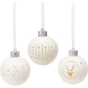LED-Kugel-Set, 3-tlg. Weihnachtsmotive Weiß - Bild 1