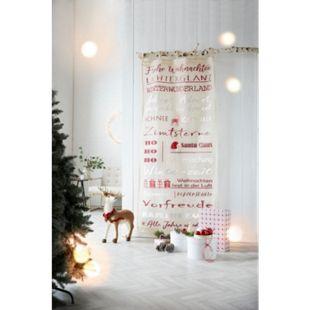 Organdy-Vorhang Merry Christmas Beige/Rot 45 x 150 cm - Bild 1