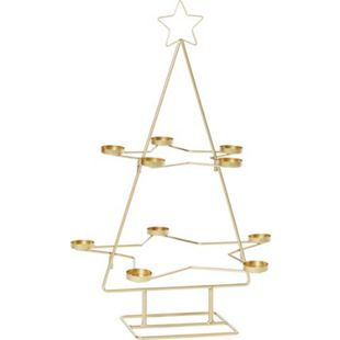 Teelichthalter Weihnachtsbaum Goldfarben - Bild 1