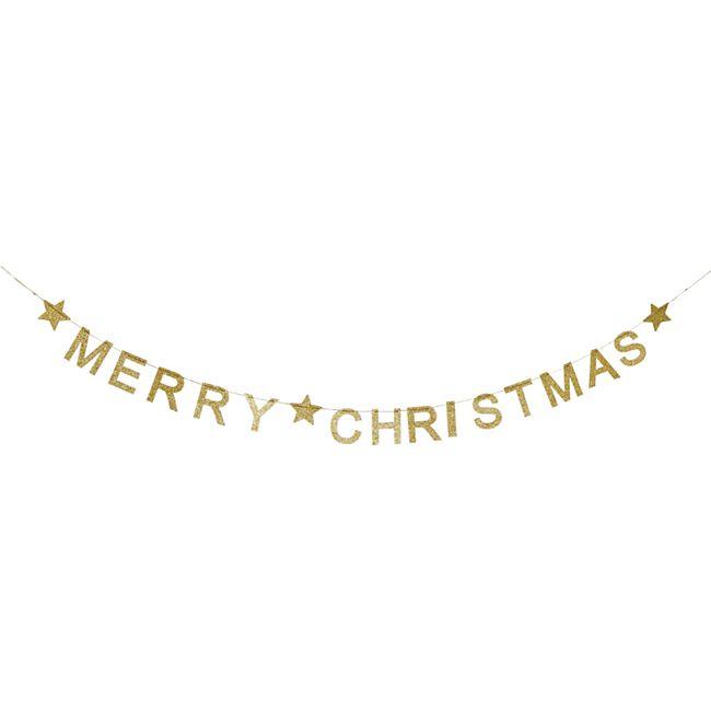 Deko-Girlande Merry Christmas Goldfarben - Bild 1