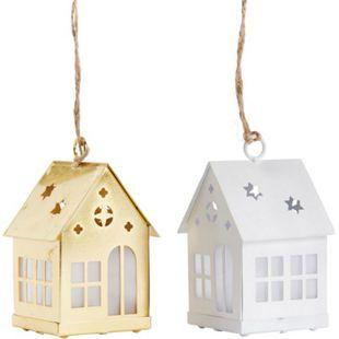 LED-Hänger-Set, 2-tlg. Magisches Haus Weiß/Goldfarben - Bild 1