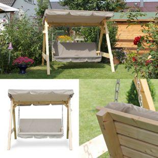 Hollywoodschaukel Audrey Holz Gartenschaukel Schaukel Gartenmöbel 3-Sitzer Beige - Bild 1
