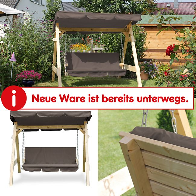 Hollywoodschaukel Audrey Holz Gartenschaukel Schaukel Gartenmöbel 3-Sitzer - Bild 1