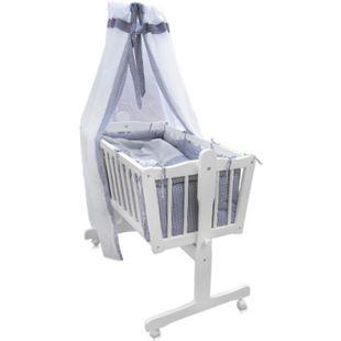 Baby Wiege Kinder Bett Stubenwagen Beistellbett + 9 tlg. Zubehör Weiß Grau - Bild 1