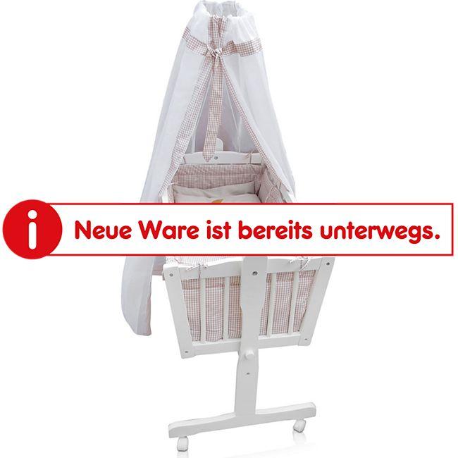 Baby Wiege Kinder Bett Stubenwagen Beistellbett + 9 tlg. Zubehör Weiß / Beige - Bild 1