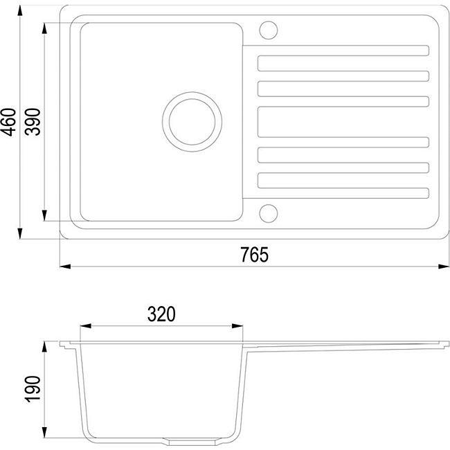 Granit Verbundspüle Küchen Einbau Auflage Spüle+Drehexcenter+Siphon Spülbecken Schwarz - Bild 1