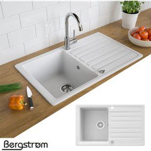 Granit Spüle Küchenspüle Einbauspüle Auflage Spülbecken Küche reversibel Weiß - Bild 1