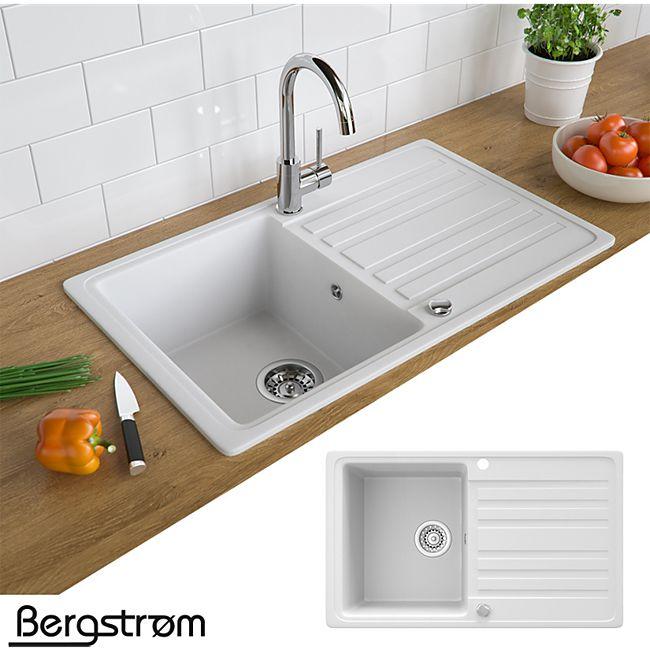 Granit Spüle Küchenspüle Einbauspüle Auflage Spülbecken Küche reversibel  Weiß