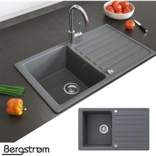 Granit Spüle Küchenspüle Einbauspüle Auflage Spülbecken Küche reversibel Grau - Bild 1