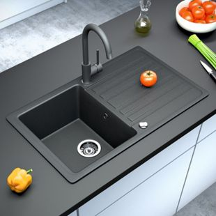 Bergström Granit Spüle Küchenspüle Einbauspüle Spülbecken 765x460mm Schwarz - Bild 1