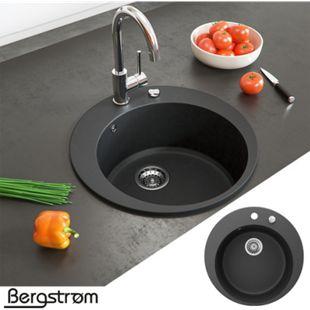 Granit Spüle Küchenspüle Einbauspüle Spülbecken+Drehexcenter+Siphon Schwarz - Bild 1