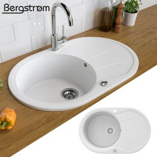 Granit Spüle Küchenspüle Einbauspüle Spülbecken+Drehexcenter+Siphon Weiß - Bild 1