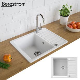 Spüle Küchenspüle Einbauspüle Spülbecken+Drehexcenter+Siphon Weiß - Bild 1