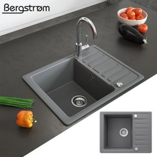 Granit Spüle Küchenspüle Einbauspüle Spülbecken+Drehexcenter+Siphon Grau - Bild 1