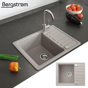 Granit Spüle Küchenspüle Einbauspüle Spülbecken+Drehexcenter+Siphon Beige - Bild 1