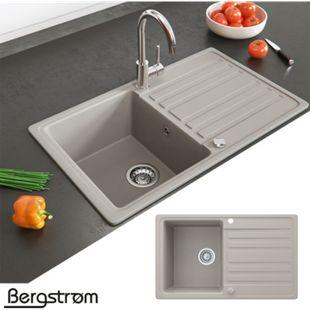 Granit Spüle Küchenspüle Einbauspüle Auflage Spülbecken Küche reversibel Beige - Bild 1