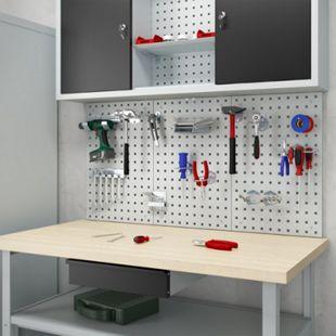 Oskar -Store Werkstatteinrichtung Lochwand Werkbank Werkzeugwand Werkstatt Grau - Bild 1