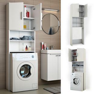 VICCO Waschmaschinenschrank 190 x 64 cm Weiß - Badregal Regal Hochschrank für Waschmaschine Trockner - Bild 1