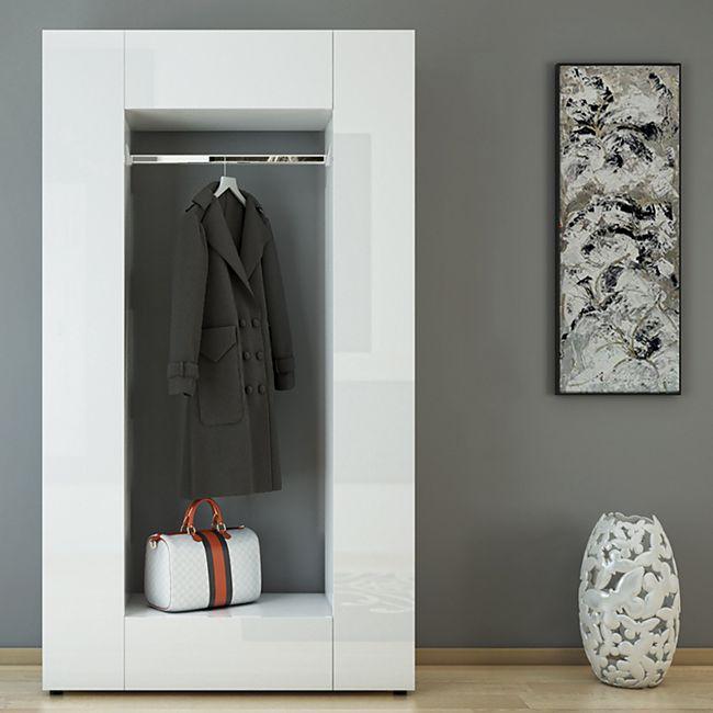 Vicco Garderobe Dielenschrank Wandschrank Flur Schrank Schuhregal Weiß Hochglanz - Bild 1