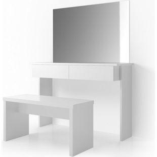 Vicco Schminktisch Azur Kosmetiktisch Frisiertisch Frisierkommode Weiß Hochglanz inklusive Sitzbank und Spiegel - Bild 1