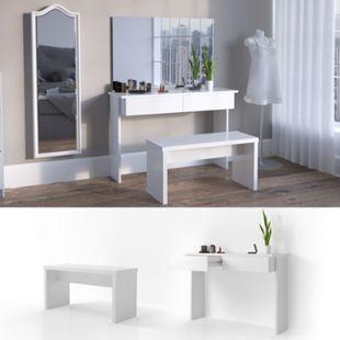 Vicco Schminktisch Azur Kosmetiktisch Frisiertisch Frisierkommode Weiß Hochglanz inklusive Sitzbank - Bild 1