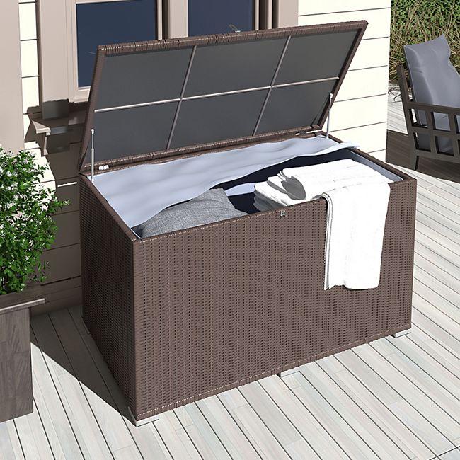 Beliebt XXL Kissenbox wasserdicht Polyrattan 950L Braun Auflagenbox WO33