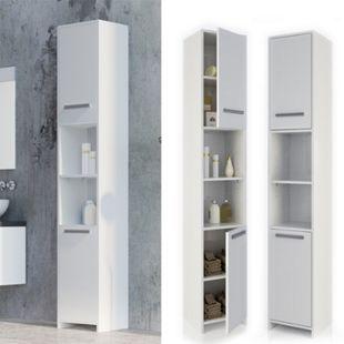 VICCO Badschrank KIKO 190 x 30 cm Weiß - Badezimmerschrank Hochschrank Regal Badregal - Bild 1