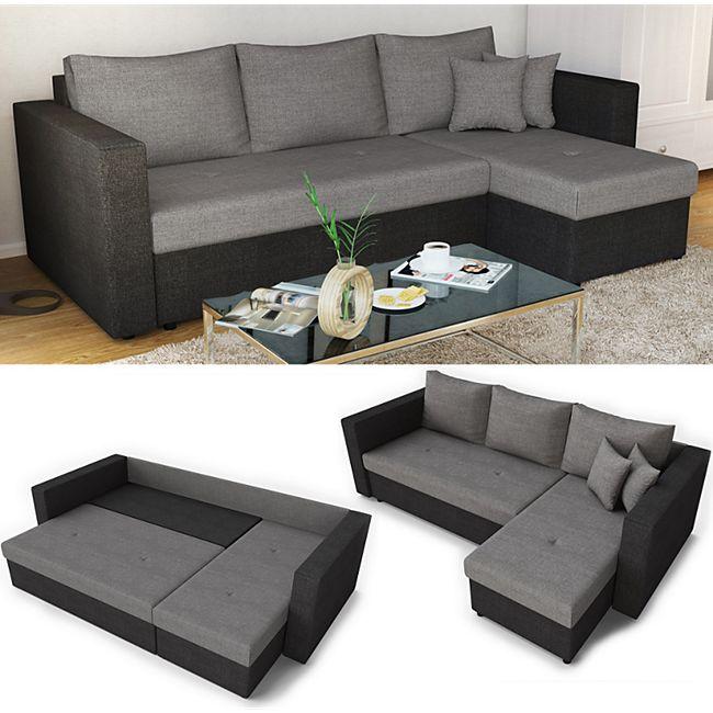 Vicco Ecksofa mit Schlaffunktion Sofa Couch Schlafsofa Bettfunktion Taschenfederkern - Bild 1