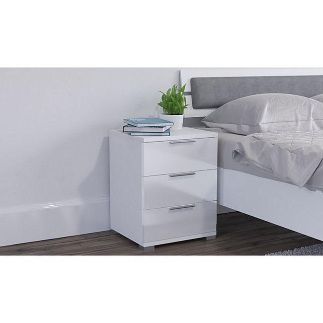 VICCO Nachtschrank Kommode Nachttisch Schublade Schlafzimmer Weiß Hochglanz - Bild 1
