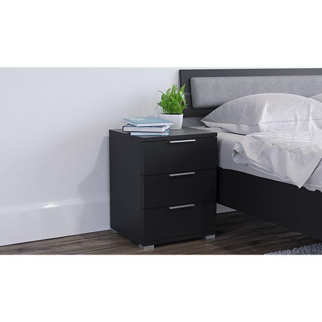 VICCO Nachtschrank Kommode Nachttisch Schublade Ablage Schlafzimmer Schwarz - Bild 1