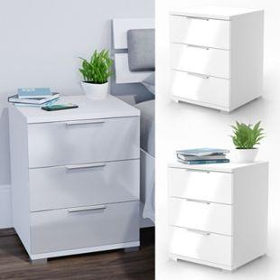 VICCO 2x Nachtschrank Kommode Nachttisch Schublade Schlafzimmer Weiß Hochglanz - Bild 1