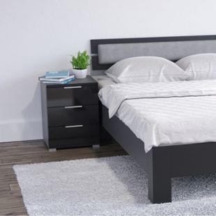 VICCO 2x Nachtschrank Kommode Nachttisch Schublade Schlafzimmer Schwarz Hochglanz - Bild 1