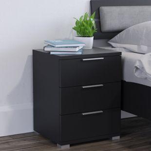 VICCO 2x Nachtschrank Kommode Nachttisch Schublade Ablage  Schlafzimmer Schwarz - Bild 1