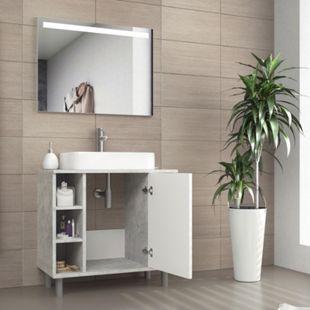 VICCO Waschbeckenunterschrank FYNN Weiß Grau - Badmöbel Badschrank Unterschrank - Bild 1