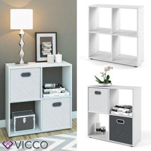 VICCO Raumteiler TETRA 4 Fächer Weiß - Bücherregal Würfelregal Standregal Regal - Bild 1