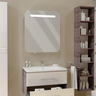Vicco LED Spiegelschrank Badspiegel Badschrank Spiegel 70 cm Weiß Hochglanz - Bild 1